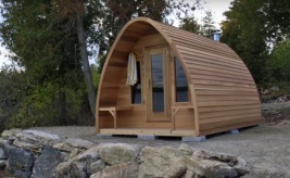 Clear Cedar POD Sauna with porch