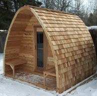 Knotty Cedar POD Sauna with tripple layer roof